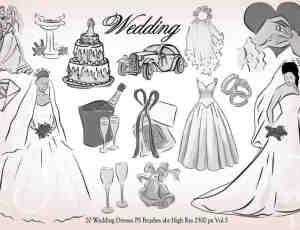 20种婚礼元素装扮图形PS笔刷下载 #.2
