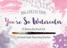 250种超大水彩、颜料、水墨画痕PS笔刷素材文件下载