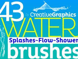 43种水花、喷水效果Photoshop笔刷下载(含CS5+CS6+CC版本)
