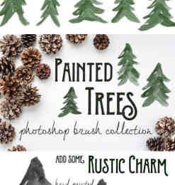 10种手绘水彩、水墨松树效果PS笔刷下载-植物笔刷 第 5 页