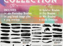 超级水彩、油墨涂痕、油漆画痕滴溅Photoshop笔刷素材下载(3个素材合集)