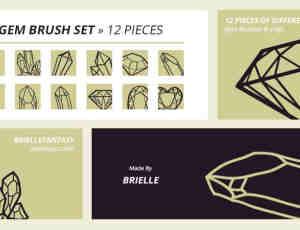 钻石、水晶矿石造型、线框图案PS笔刷下载