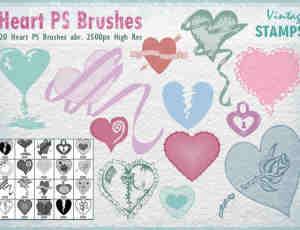 20种恋爱、情人节爱心图形装扮PS笔刷素材