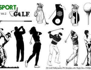 高尔夫器材、高尔夫选手Photoshop笔刷素材