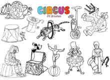 20种手绘小丑造型、卡通马戏团小丑PS笔刷下载