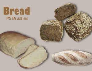 20种食物面包、吐司、干面包食物PS笔刷下载