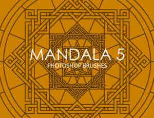 Mandala式古典宗教图案Photoshop印花笔刷下载