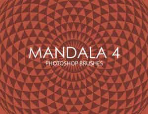 简洁复古式旋转对称背景图案PS笔刷下载Mandala系列
