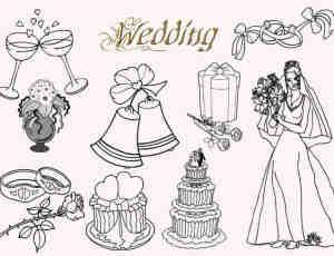婚礼蛋糕、铃铛、新娘、酒杯、玫瑰花、戒指等线框图形PS笔刷素材下载