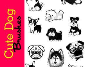 可爱的卡通狗Photoshop图形素材笔刷