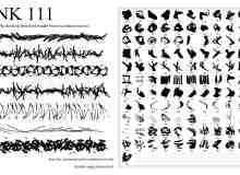 111种水墨效果、油漆刷子笔触Photoshop笔刷素材