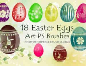 漂亮的花式复活节彩蛋Photoshop笔刷素材下载