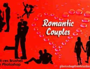 情人、恋人剪影图形PS人像笔刷