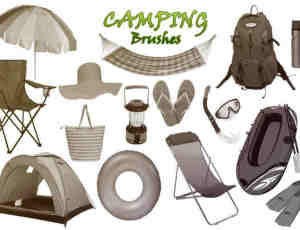 20种户外野营、露营装备Photoshop笔刷下载