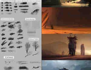 84种CG数字艺术绘画创作PS笔刷下载