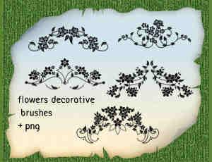 5种漂亮的优雅艺术植物花纹图案PS笔刷素材下载