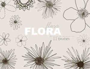 童趣涂鸦手绘花纹、鲜花花朵图形Photoshop笔刷素材