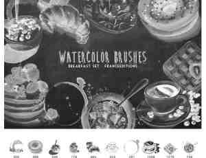 美味甜点、早餐、下午茶Photoshop水彩图形作画笔刷素材