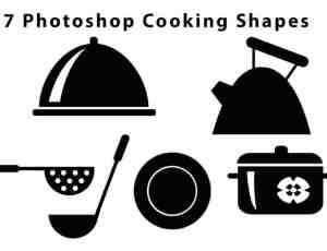 7种厨房元素Photoshop自定义形状素材