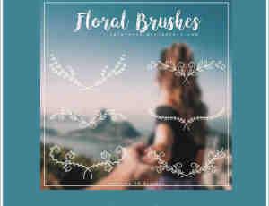 9种小清新手绘枝条花纹图案Photoshop笔刷素材下载