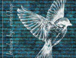 飞鸟、小鸟版刻印刷图案PS笔刷素材下载