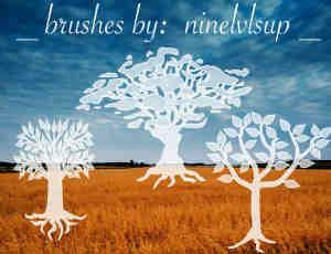 卡通树木剪影图形PS笔刷素材下载