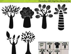 可爱创意卡通树木Photoshop童趣笔刷