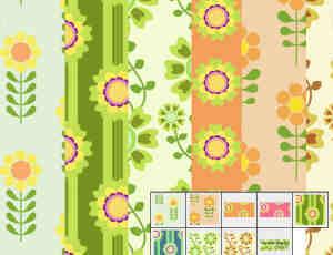 9种鲜花花朵背景图案Photoshop图案底纹素材.pat