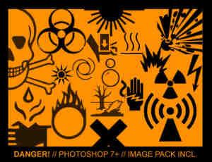 警告、辐射、骷髅头、防火防灾警示标记PS笔刷素材