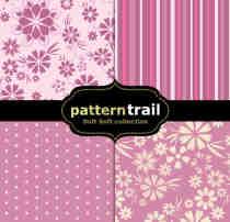 4种可以无缝拼接的花卉、印花、条纹、圆点图案PS填充素材下载