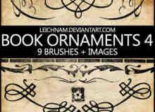 复古的线条花纹艺术图案Photoshop笔刷素材下载