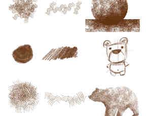 线条描绘图案、另类笔触笔刷PS素材下载