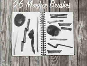 26种马克笔、记号笔笔触划痕Photoshop笔刷素材