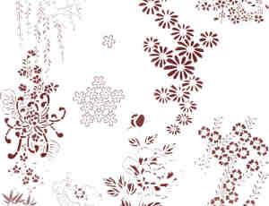 花纹图案、鲜花植物柳条图案PS笔刷素材