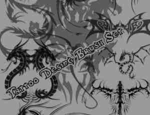 炫酷魔龙、中国神龙、西方恶龙纹饰、刺青Photoshop笔刷素材