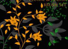 漂亮的艺术花纹图案、鲜花印花PS笔刷下载