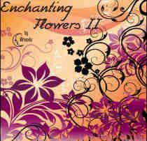 漂亮的鲜花与植物花纹图案PS笔刷素材下载
