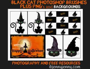 万圣节女巫的猫咪、卡通黑猫PS笔刷素材