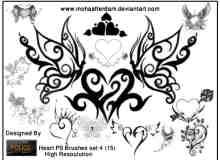 漂亮的纹身式蝴蝶爱心图案花纹PS笔刷素材