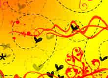 手绘涂鸦爱心与线条装饰物PS笔刷素材