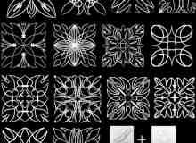 漂亮的艺术对称花纹图案PS笔刷下载