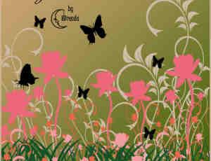 植物花朵与蝴蝶艺术花纹印花PS笔刷