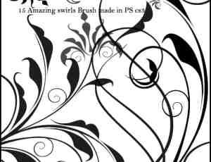优雅高贵的植物茎叶花朵图案PS笔刷素材