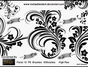漂亮的艺术花纹图案Photoshop植物印花笔刷