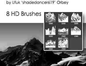 8个高清大山山脉剪影阴影造型PS笔刷素材