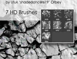 地面裂缝、干涸开裂土地Photoshop笔刷素材