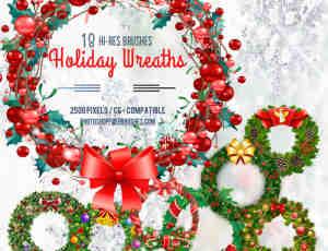 漂亮的18种圣诞节环圈、花环装饰品Photoshop笔刷素材