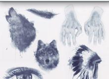时尚非主流水彩狼、羽毛、手、印第安酋长、眼睛图案Photoshop照片美化笔刷
