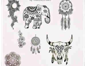 手绘小清新大象、挂嘴饰品、羊头花纹装饰品图案PS笔刷素材