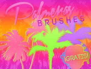 椰子树剪影图形Photoshop海边椰树笔刷